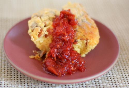 Bacon Spoon Bread with Tomato Bacon Jam