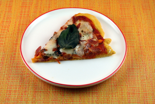 Pumpkin Pizza with Taleggio, Pancetta and Fried Sage
