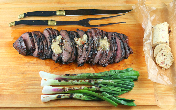 Bourbon Grilled Flat-Iron Steak with Southern Bacon Bourbon Butter