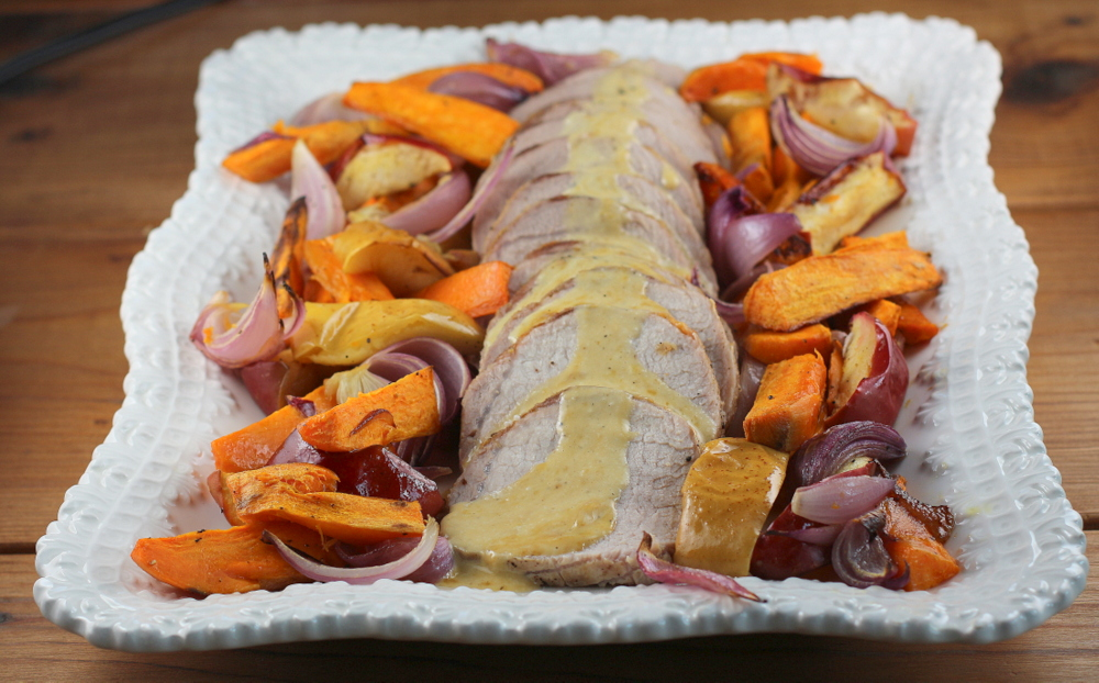 Roasted Pork and Sweet Potatoes with Hard CIder Cream Sauce