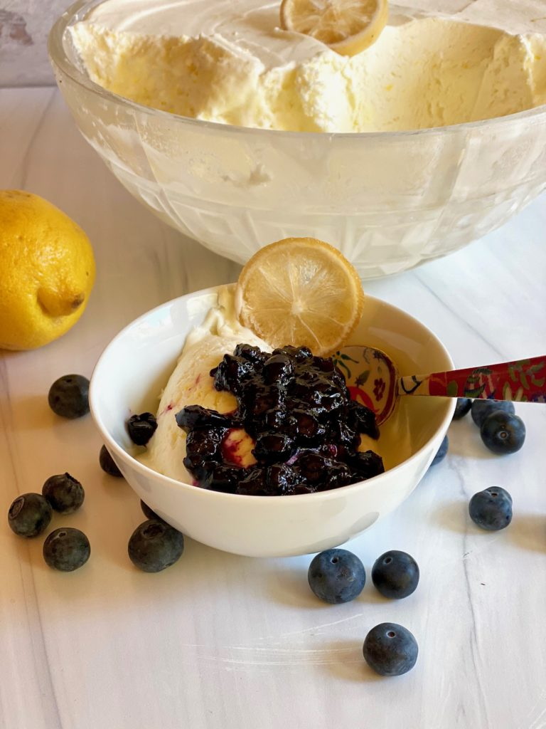 Frozen Lemon Bisque with Blueberry Nutmeg Compote