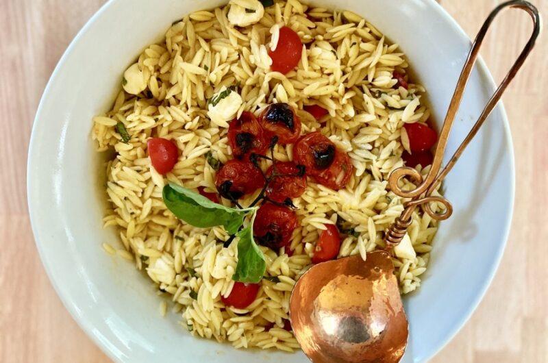 Orzo Caprese Pasta Salad with Roasted Garlic Vinaigrette